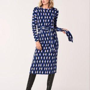 Diane von Furstenberg Gabel Geometric 100% Merino Wool Belted Dress Size Medium